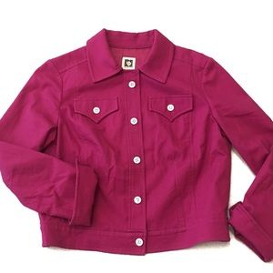 Anne Klein Crop Jacket Button Purple/Pink Size 8